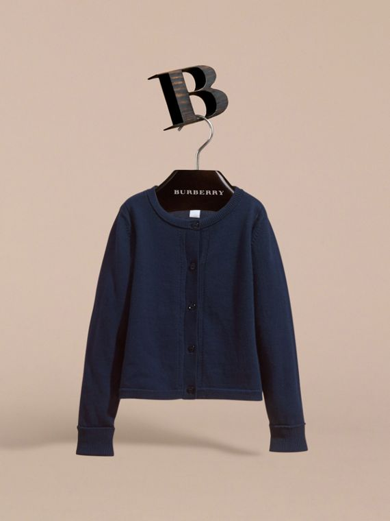 Check Cuff Cotton Knit Cardigan in Navy - Girl | Burberry - cell image 2