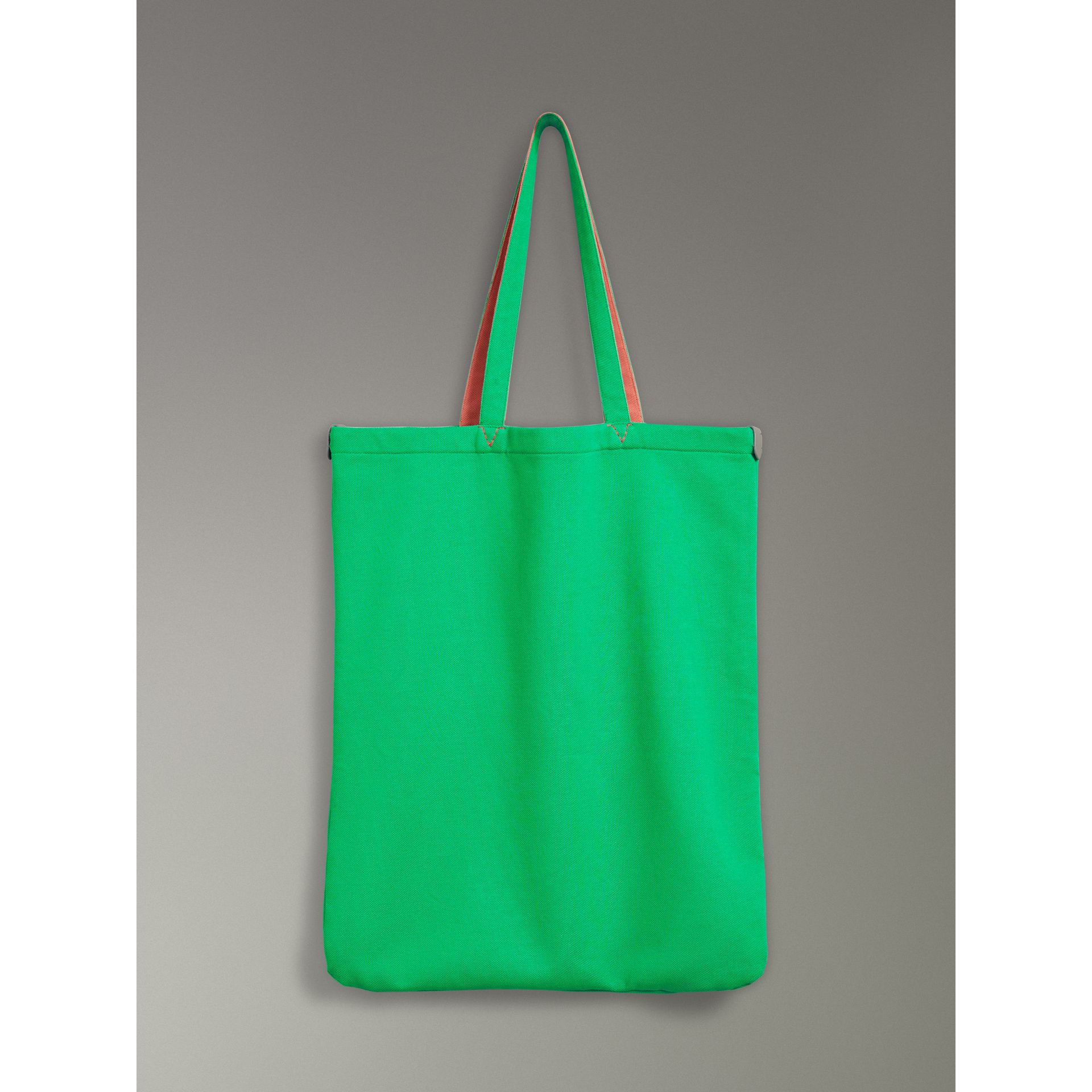 Large Archive Logo Jersey Shopper in Bright Green | Burberry - gallery image 7