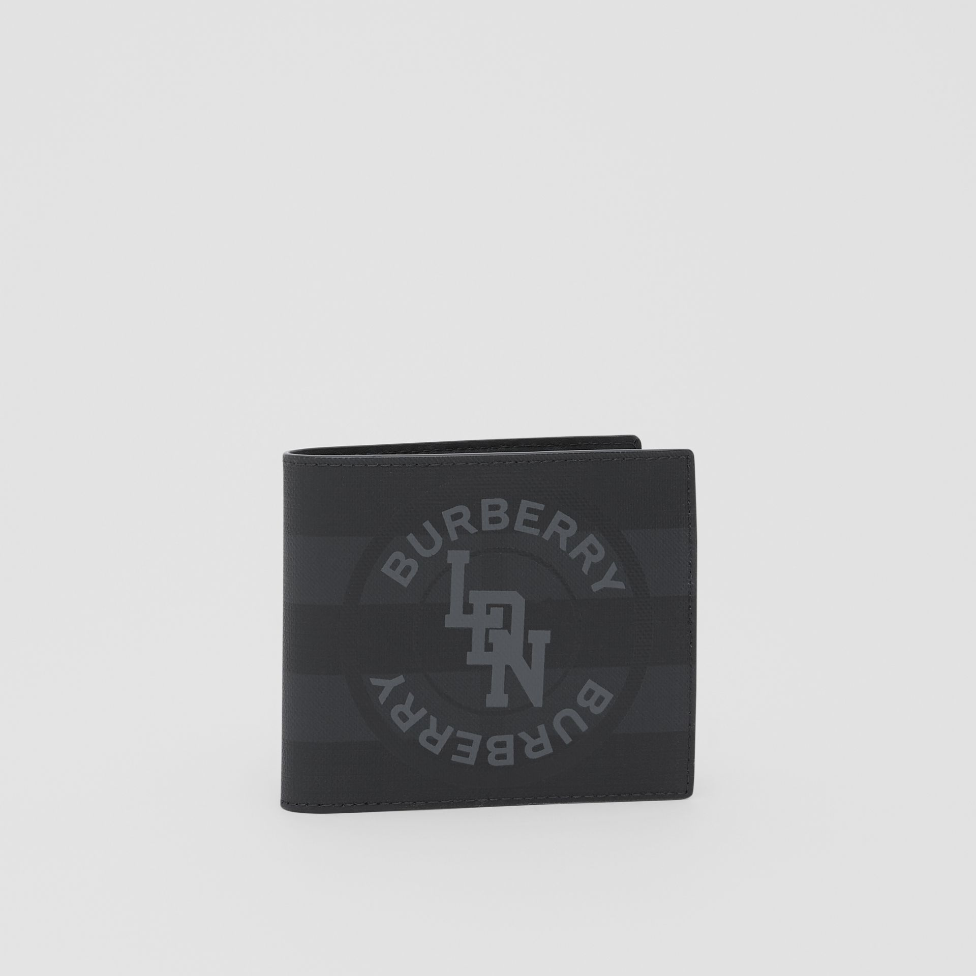 Logo Graphic International Bifold Coin Wallet in Dark Charcoal - Men | Burberry - gallery image 3