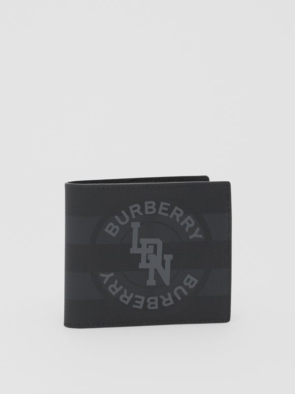 Logo Graphic International Bifold Coin Wallet in Dark Charcoal - Men | Burberry - cell image 3