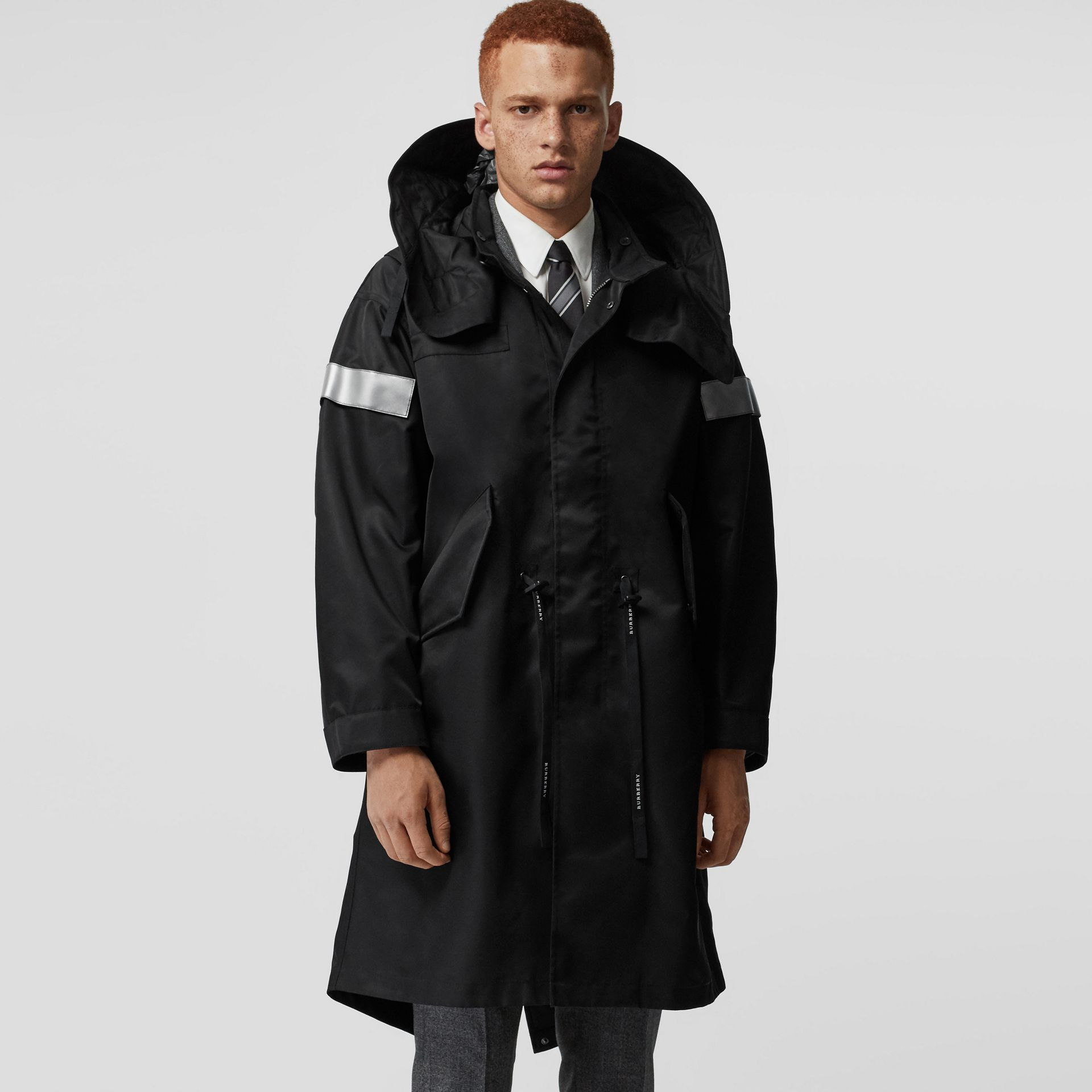 Detachable Hood Reflective Stripe Nylon Parka in Black - Men | Burberry - gallery image 5