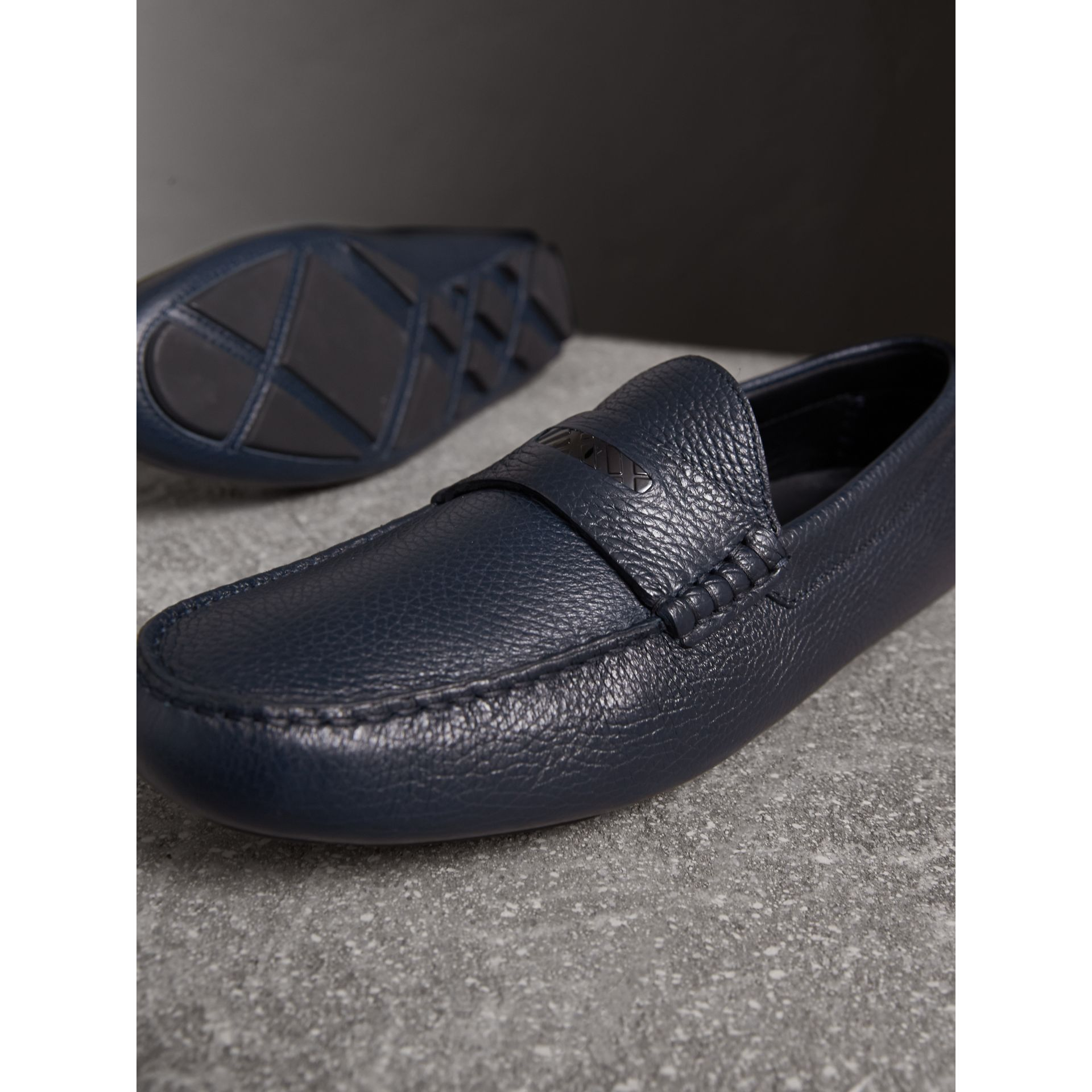 Grainy Leather Loafers with Engraved Check Detail in Navy - Men | Burberry - gallery image 4