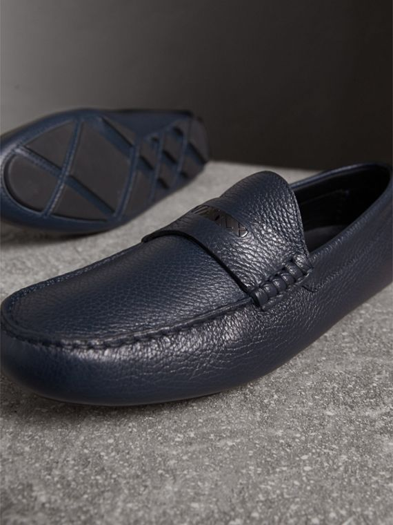 Grainy Leather Loafers with Engraved Check Detail in Navy - Men | Burberry - cell image 3