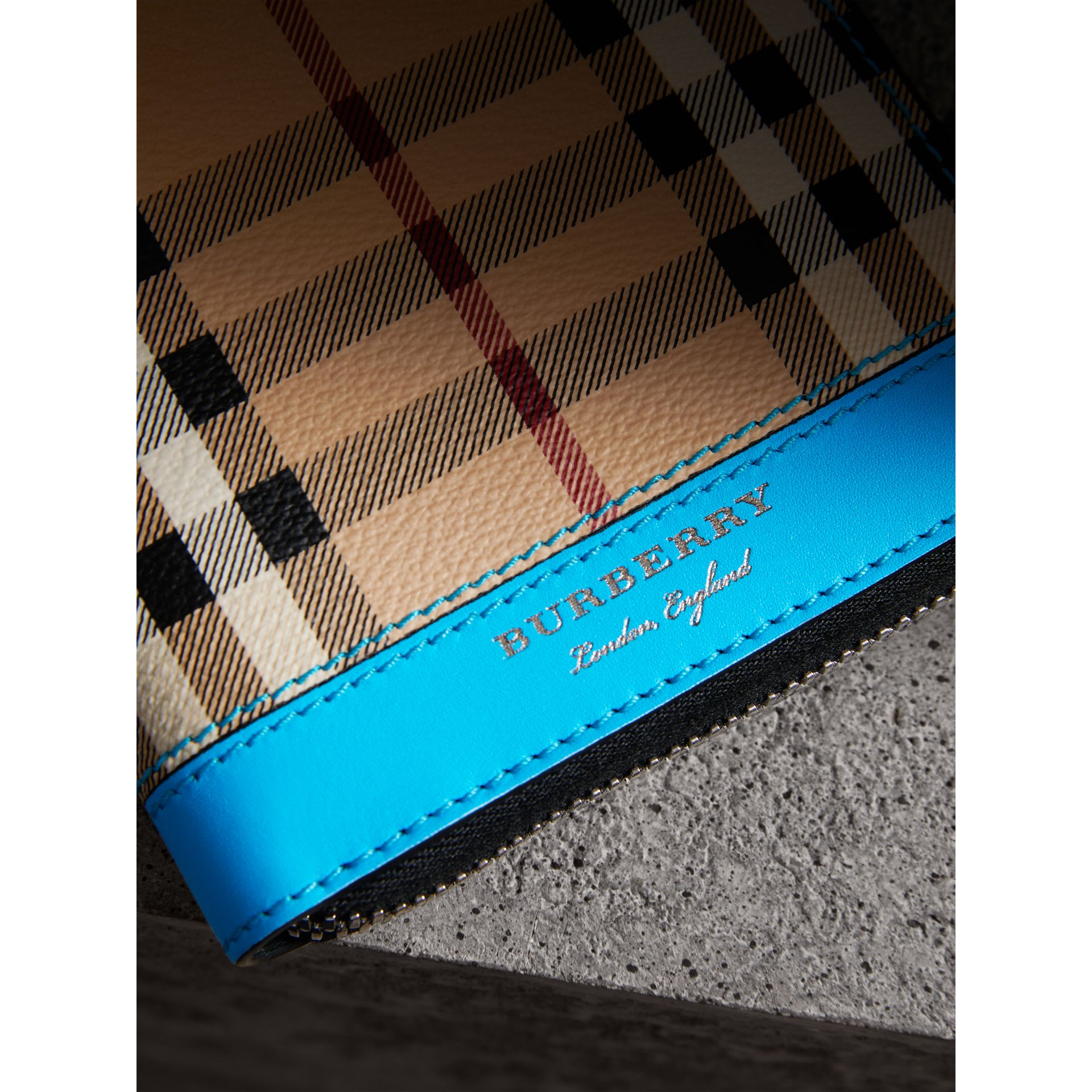 Haymarket Check and Leather Ziparound Wallet in Bright Blue - Men | Burberry Australia - gallery image 1