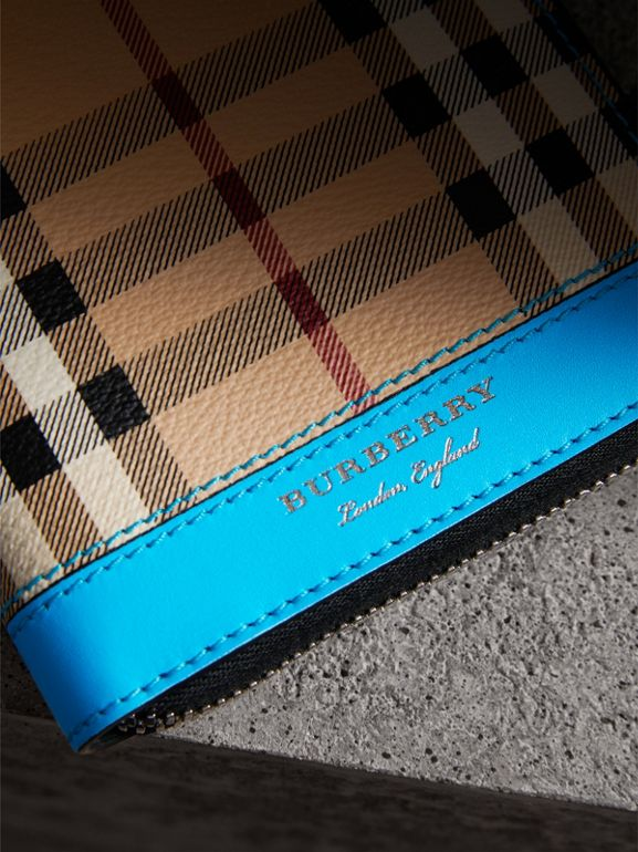 Haymarket Check and Leather Ziparound Wallet in Bright Blue - Men | Burberry United Kingdom - cell image 1