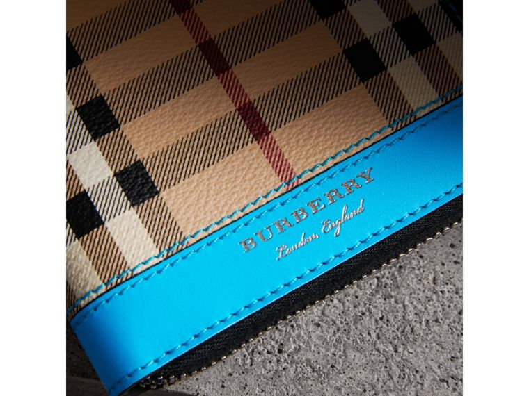 Haymarket Check and Leather Ziparound Wallet in Bright Blue - Men | Burberry - cell image 1