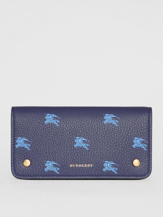 Lederbrieftasche für Mobiltelefone mit Ritteremblem-Muster (Königsblau)