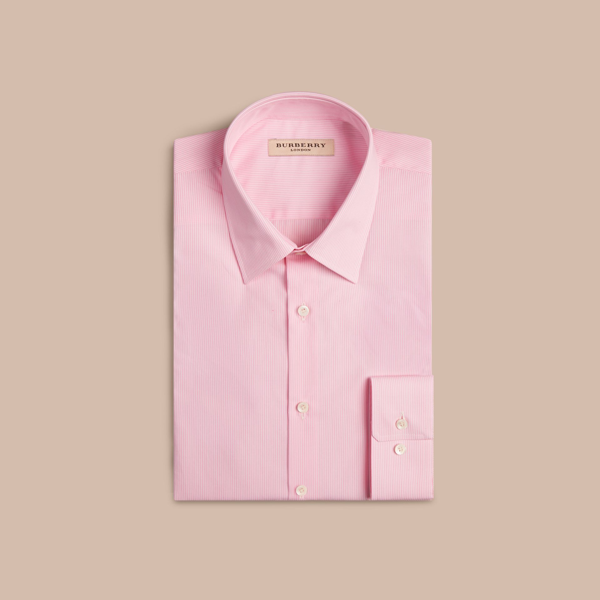 Modern Fit Striped Cotton Poplin Shirt City Pink - gallery image 4