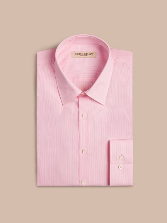 Modern Fit Striped Cotton Poplin Shirt in City Pink - cell image 3