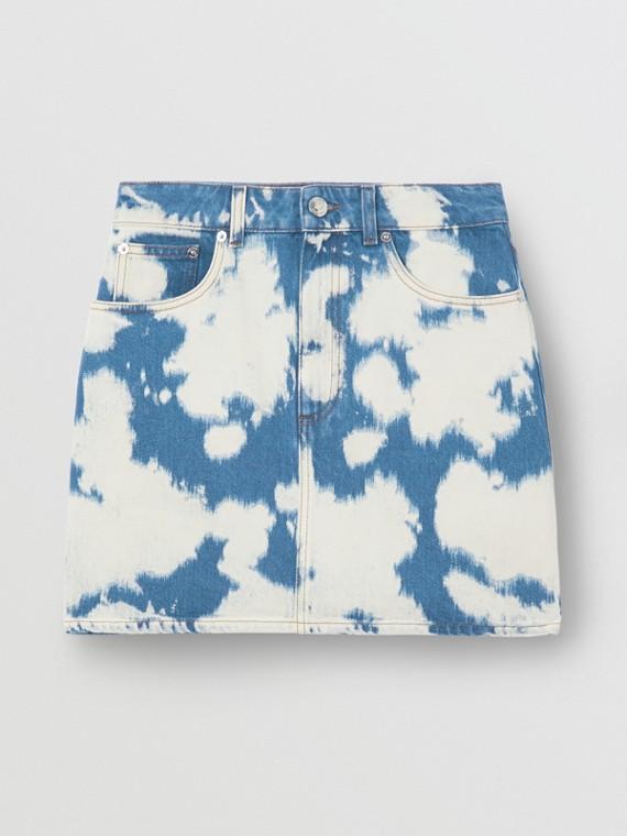 Minissaia jeans desbotada com monograma (Azul)