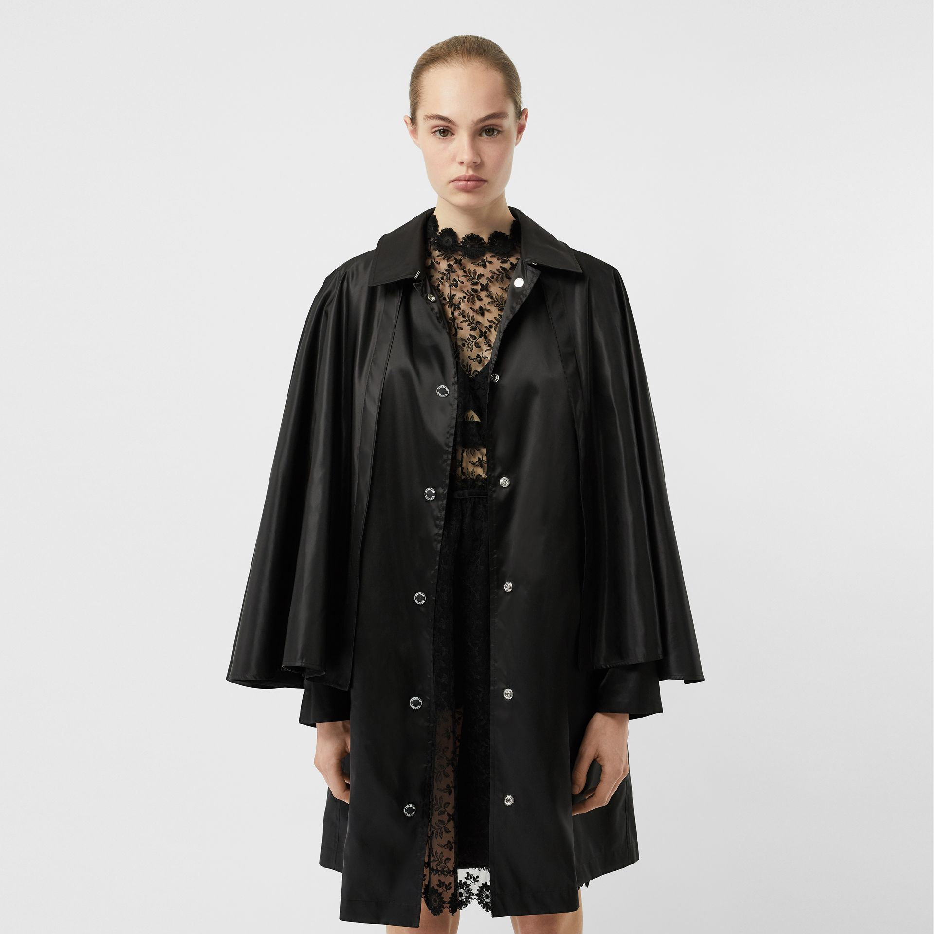 Cape Detail ECONYL® Belted Coat in Black - Women | Burberry - gallery image 4