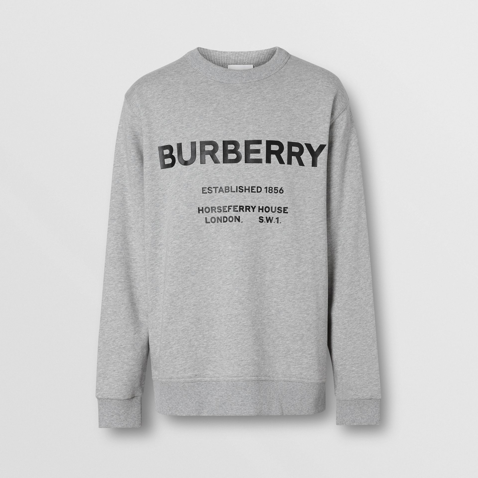 Horseferry Print Cotton Sweatshirt in Pale Grey Melange - Men | Burberry Australia - gallery image 3