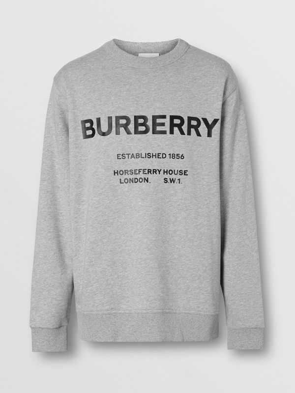 Horseferry Print Cotton Sweatshirt in Pale Grey Melange - Men | Burberry Australia - cell image 3