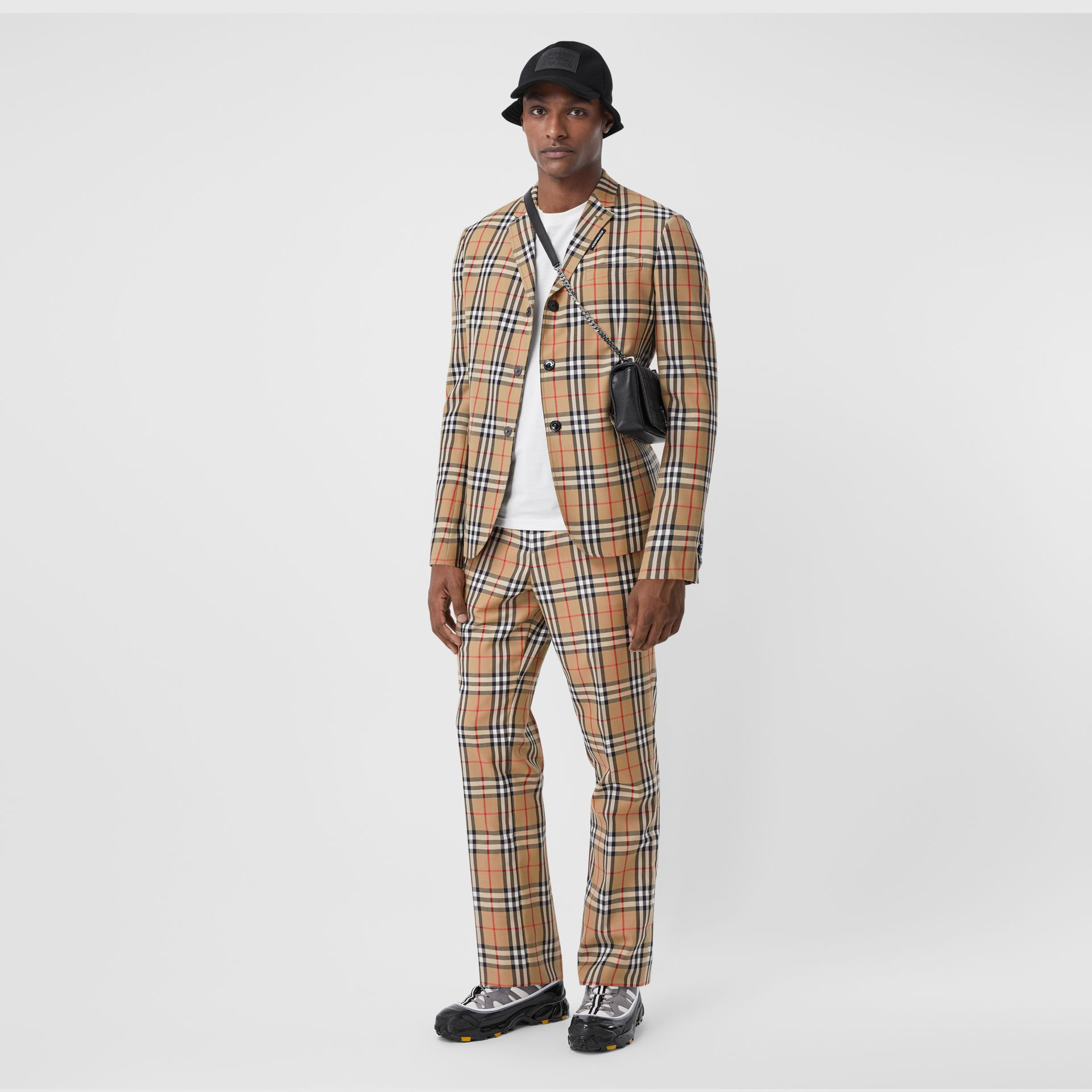 Vintage Check Wool Mohair Tailored Trousers in Archive Beige - Men | Burberry United Kingdom - gallery image 0