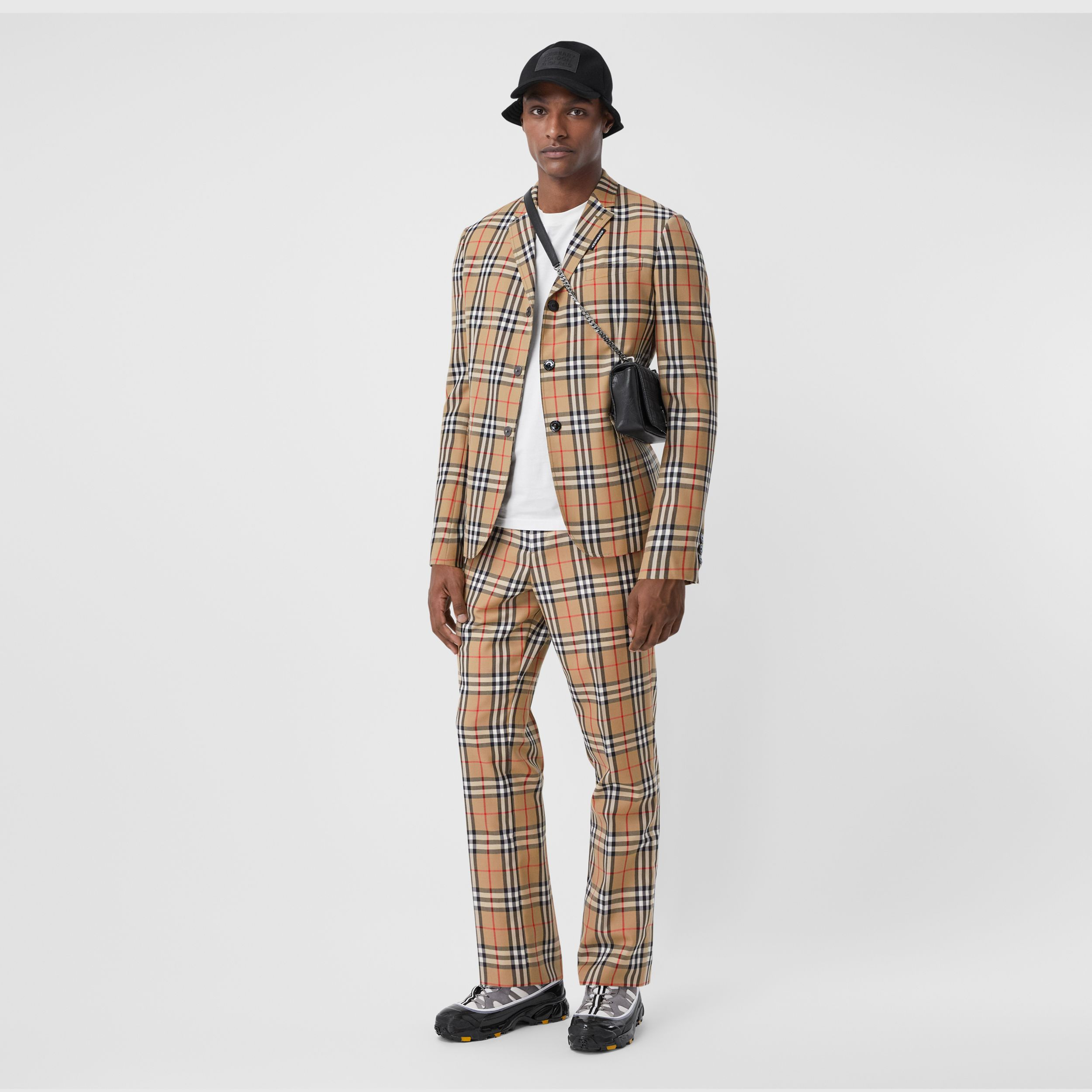 Vintage Check Wool Mohair Tailored Trousers in Archive Beige - Men | Burberry - 1