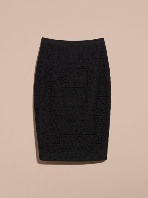Black English Lace Pencil Skirt - cell image 3