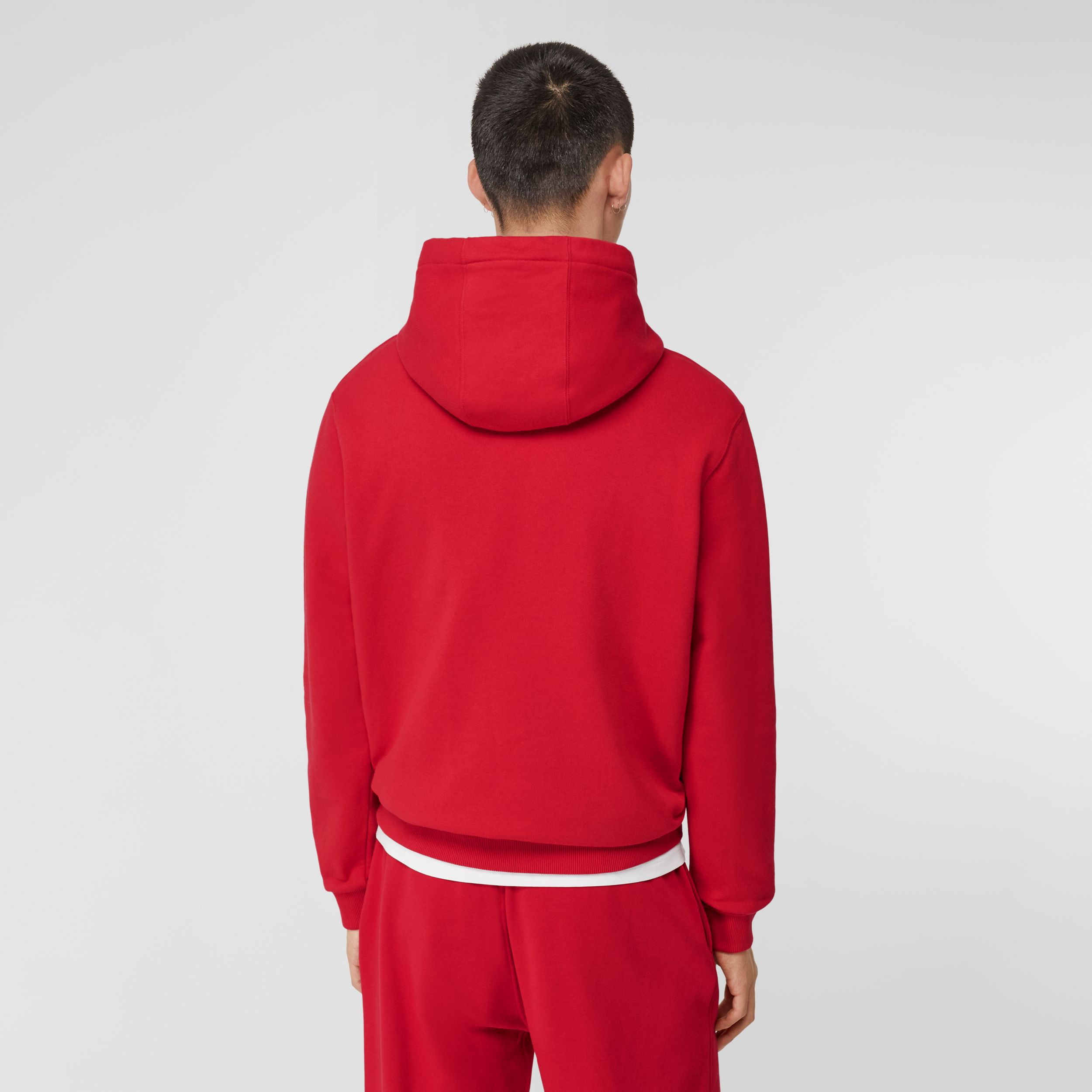 Monogram Motif Cotton Hoodie in Bright Red - Men | Burberry Australia - 3