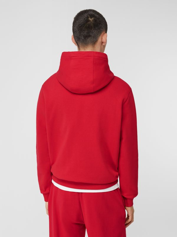 Monogram Motif Cotton Hoodie in Bright Red - Men | Burberry Hong Kong S.A.R - cell image 2