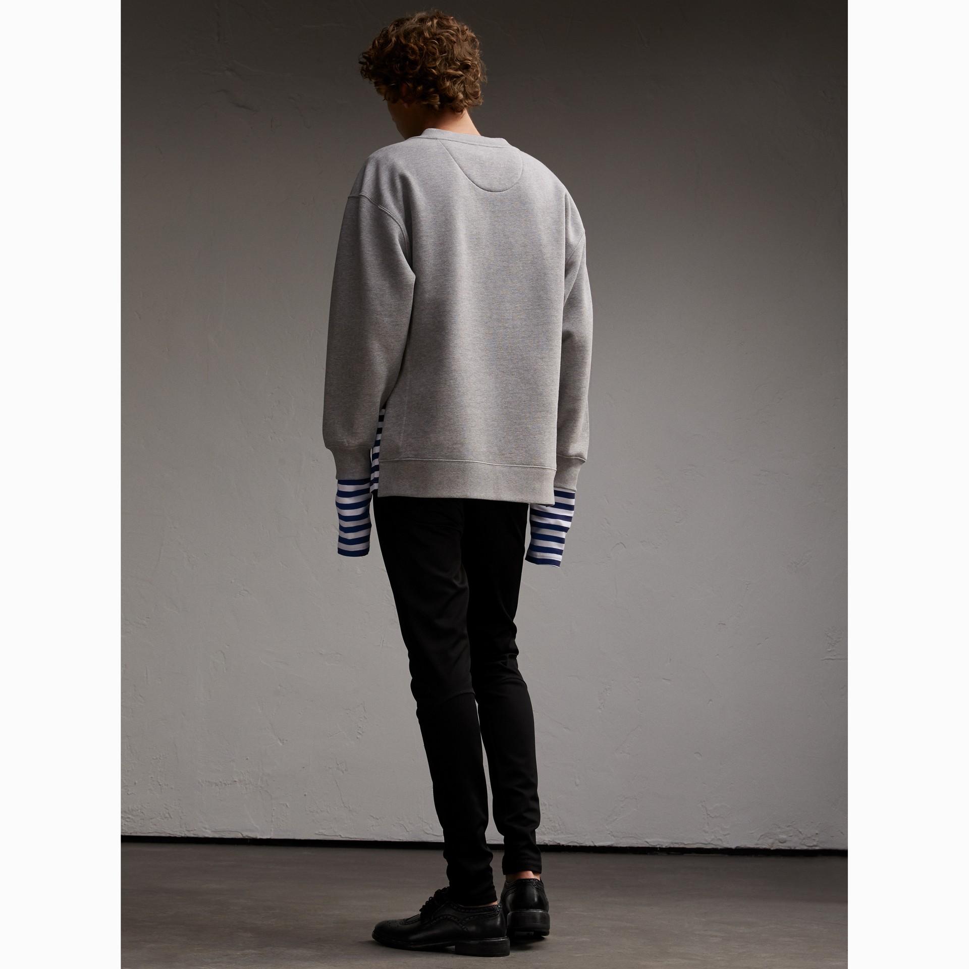 Unisex Striped Silk Cotton Panel Sweatshirt - Men | Burberry Australia - gallery image 5