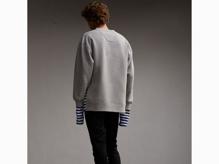 Unisex Striped Silk Cotton Panel Sweatshirt - Men | Burberry - cell image 4