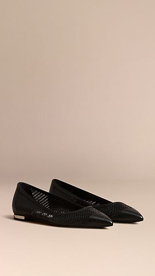 Laser-cut Calf Leather Ballerinas