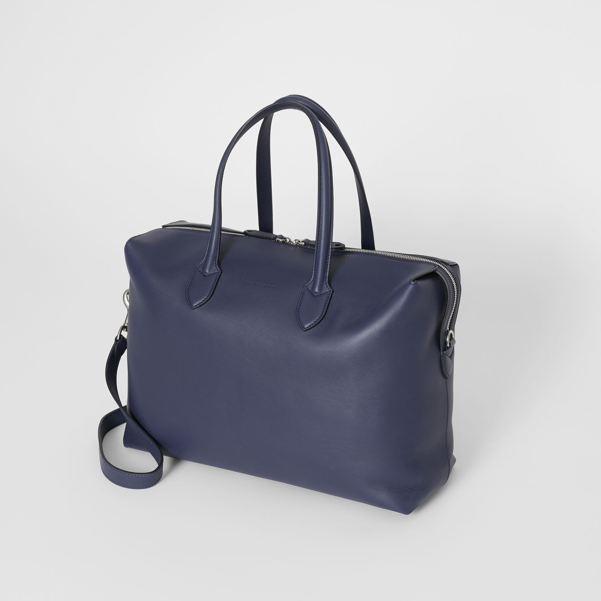Soft Leather Holdall in Regency Blue - Men | Burberry - gallery image 3