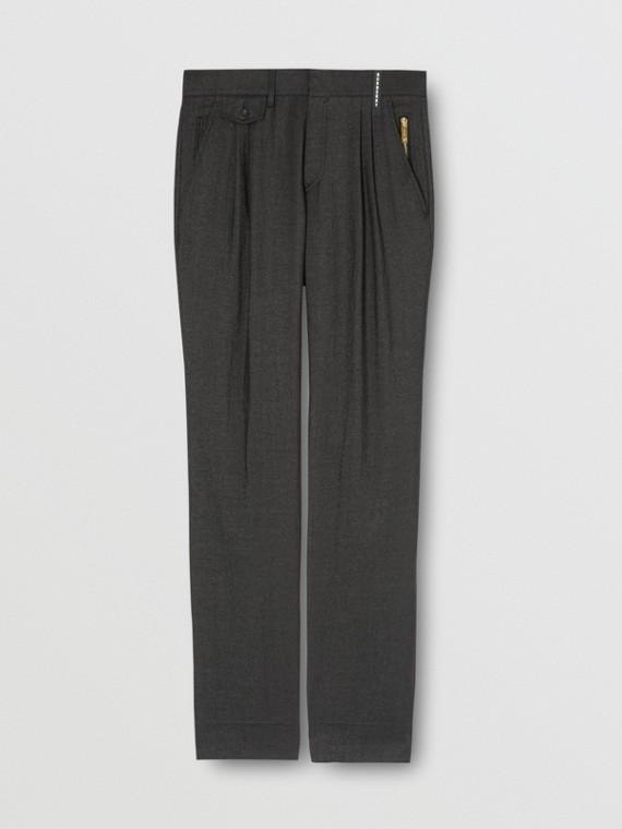 Zip Detail Linen Blend Pleated Trousers in Black