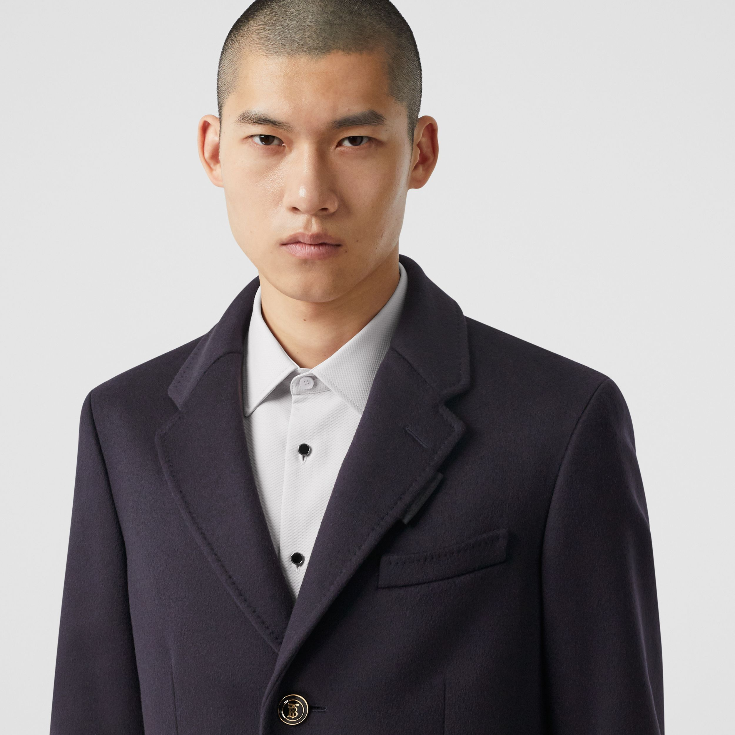 Button Detail Wool Cashmere Tailored Coat in Navy - Men | Burberry - 2