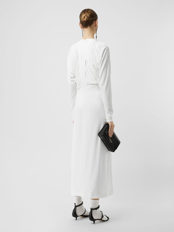 Ruched Panel Jersey Gown in White - Women | Burberry - cell image 2