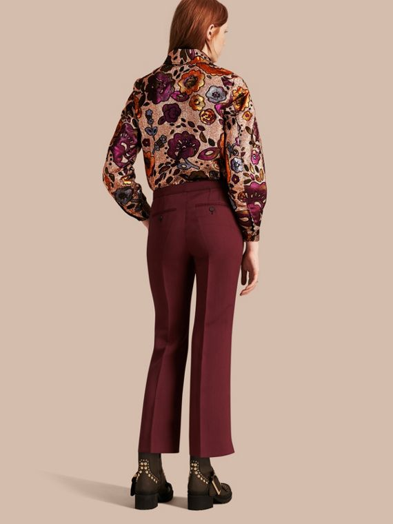 Deep burgundy Cropped Tailored Trousers Deep Burgundy - cell image 2