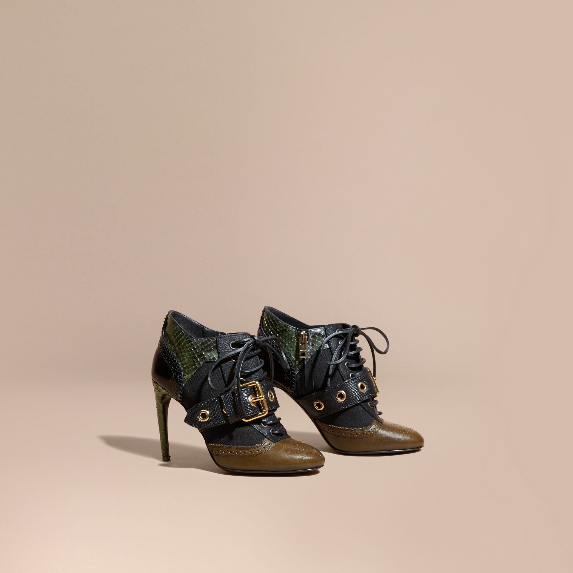 Military olive Buckle Detail Leather and Snakeskin Ankle Boots Military Olive - gallery image 1