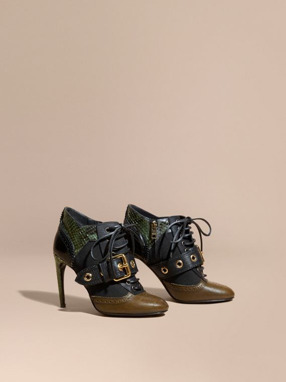 Buckle Detail Leather and Snakeskin Ankle Boots Military Olive