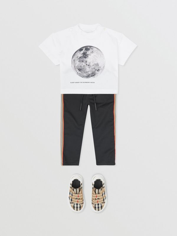 Moon Print Cotton T-shirt in White - Children | Burberry - cell image 3
