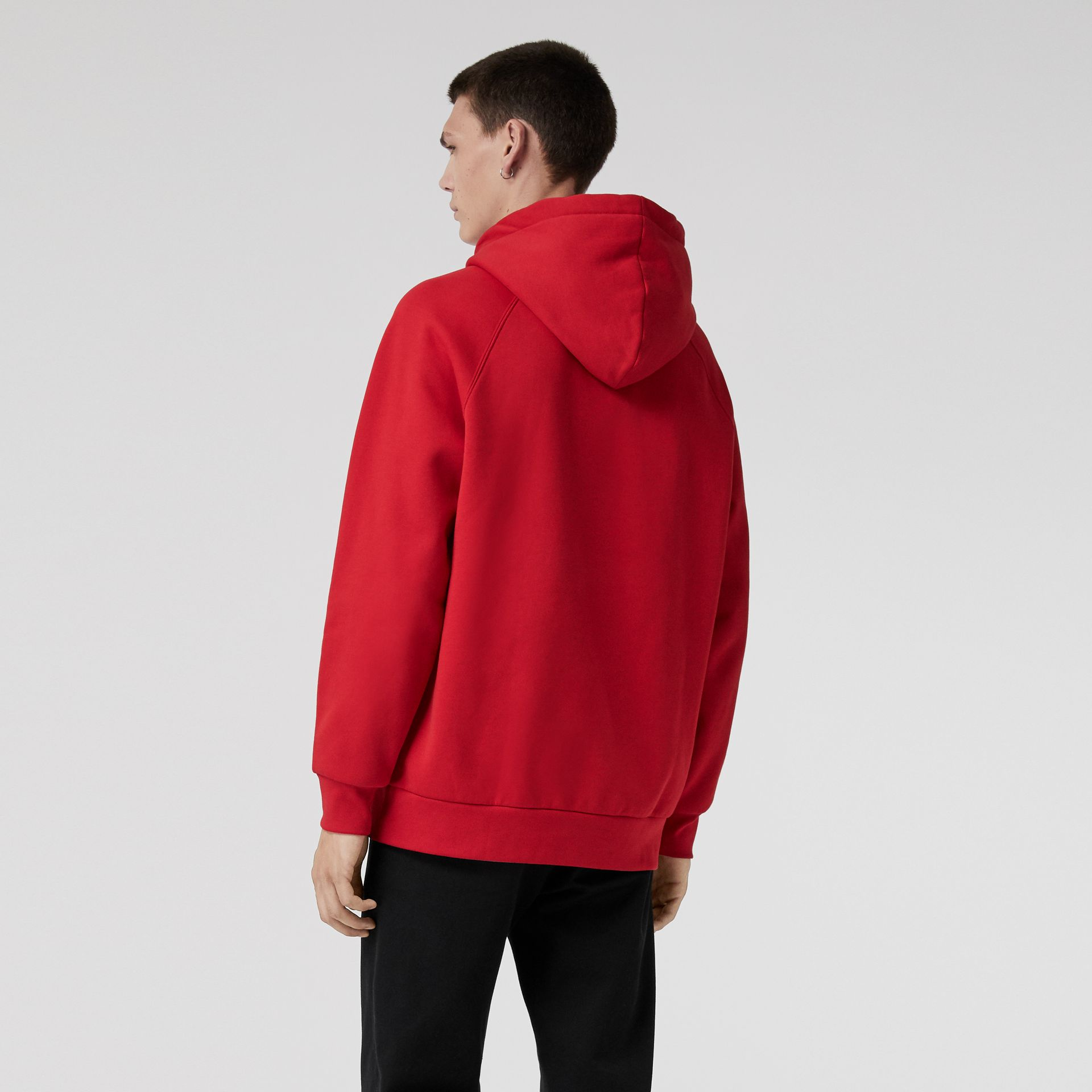 Embroidered Archive Logo Jersey Hoodie in Bright Red - Men | Burberry - gallery image 2