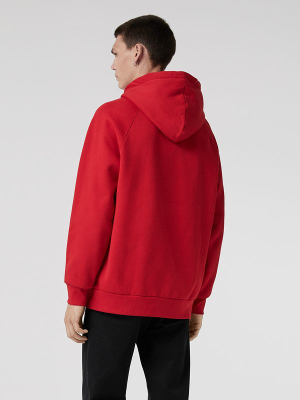 Embroidered Archive Logo Jersey Hoodie in Bright Red - Men | Burberry - cell image 2