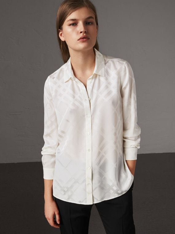 Tonal Check Silk Shirt in White