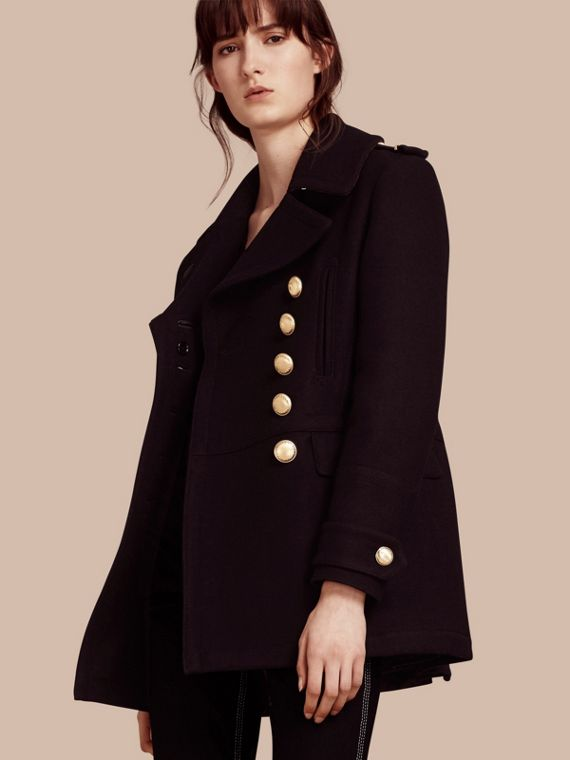 Wool Blend Military Pea Coat