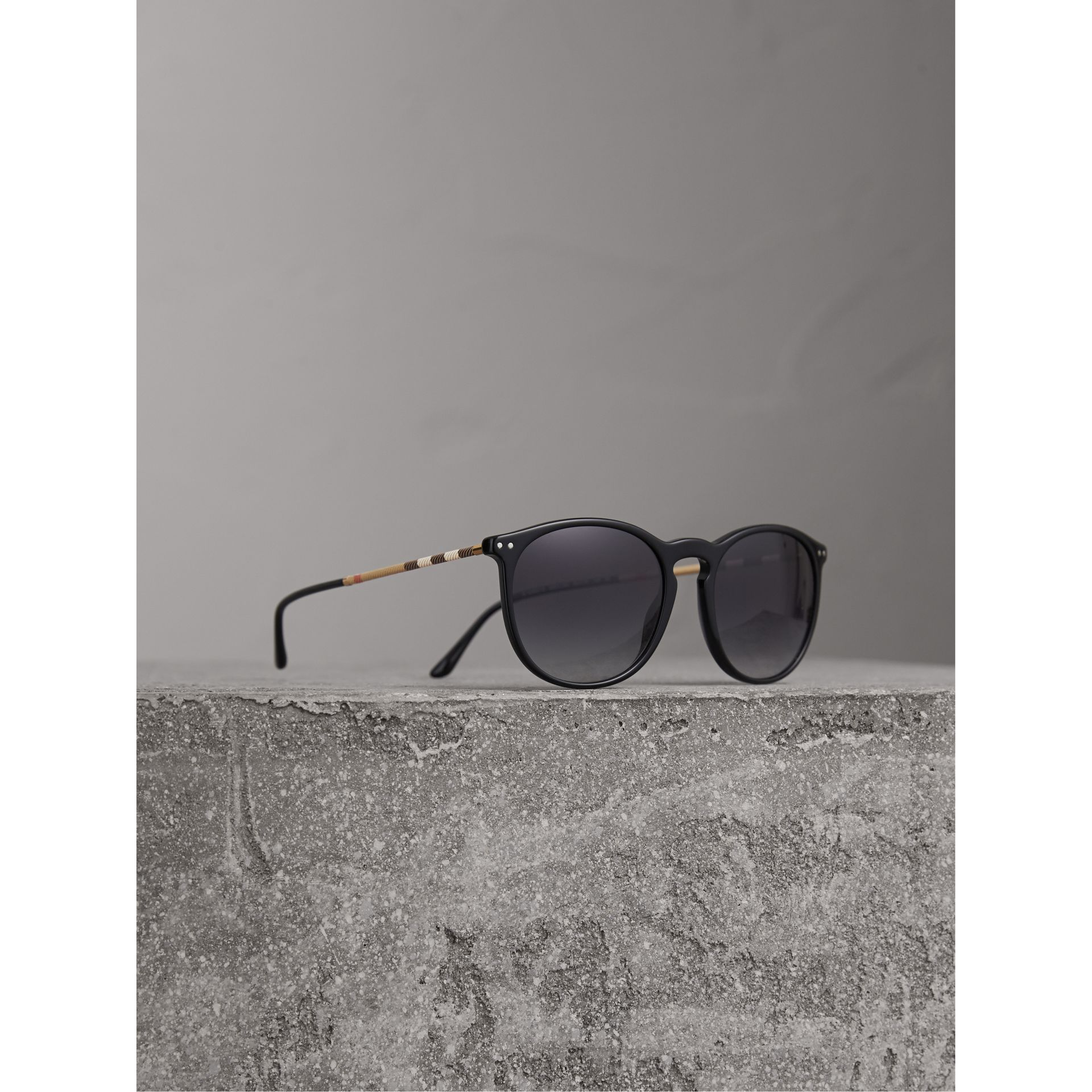 Check Detail Round Frame Sunglasses in Black - Men | Burberry - gallery image 0