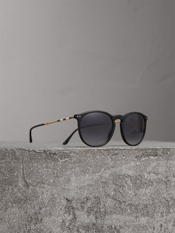 Check Detail Round Frame Sunglasses in Black - Men | Burberry