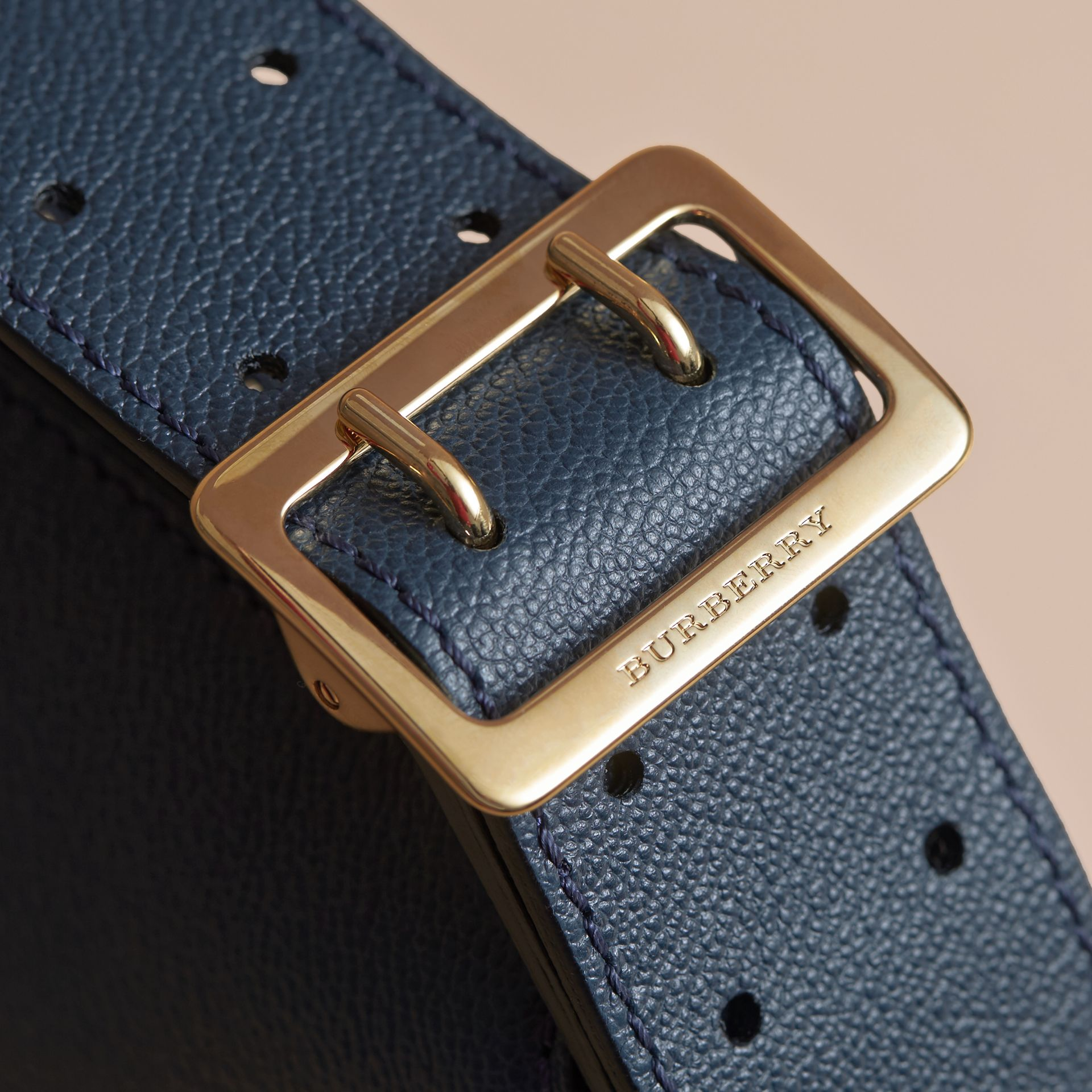 Buckle Detail Leather and House Check Crossbody Bag in Blue Carbon - Women | Burberry Australia - gallery image 2