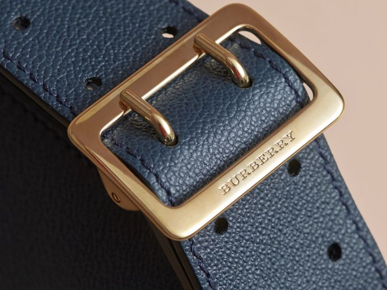 Buckle Detail Leather and House Check Crossbody Bag in Blue Carbon - Women | Burberry - cell image 1