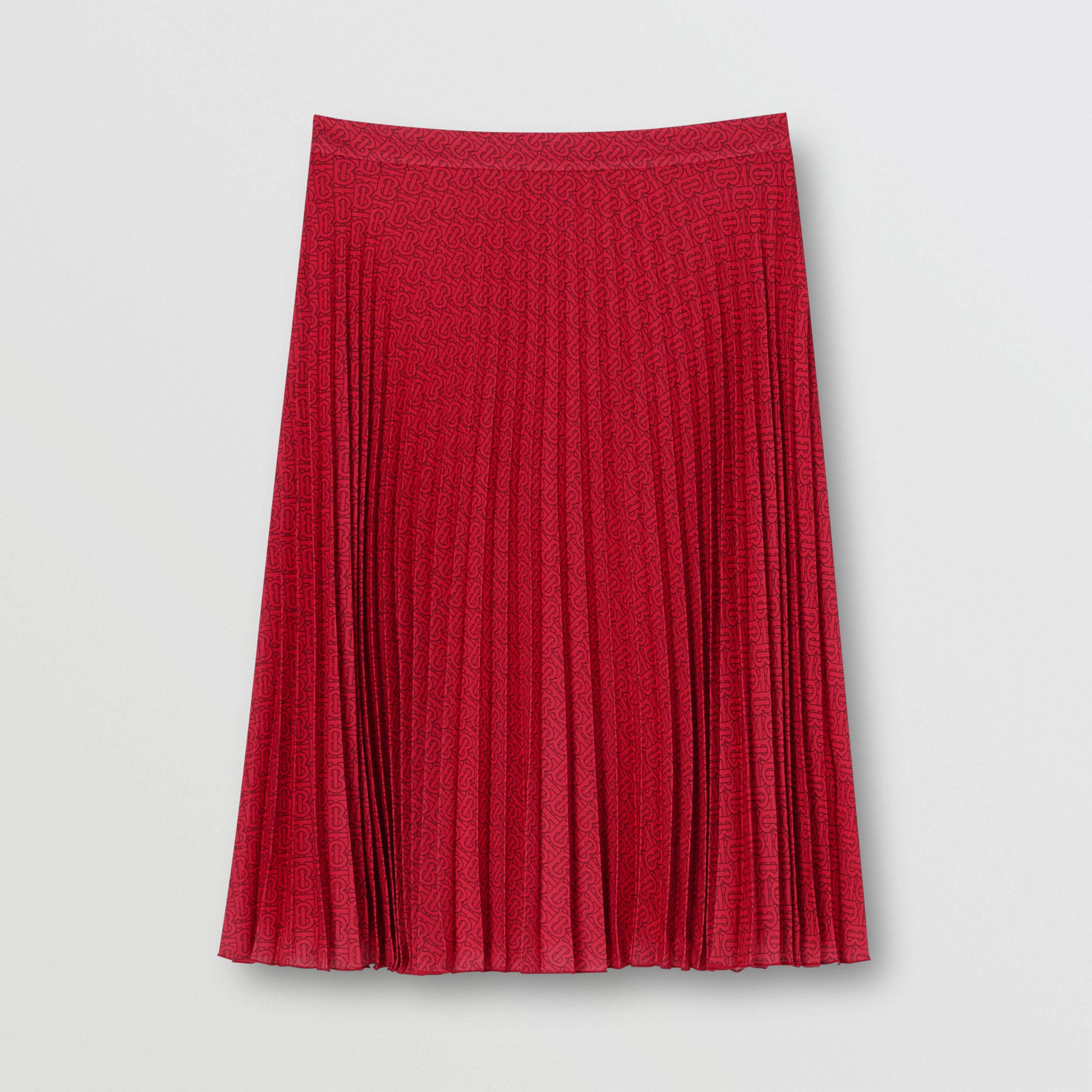 Monogram Print Pleated Skirt in Bright Red - Women | Burberry - 4