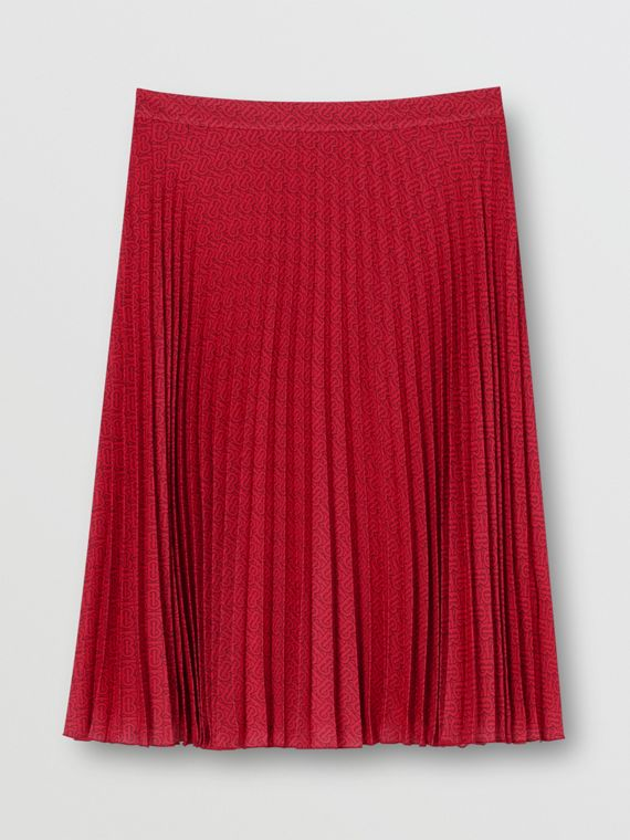 Monogram Print Pleated Skirt in Bright Red