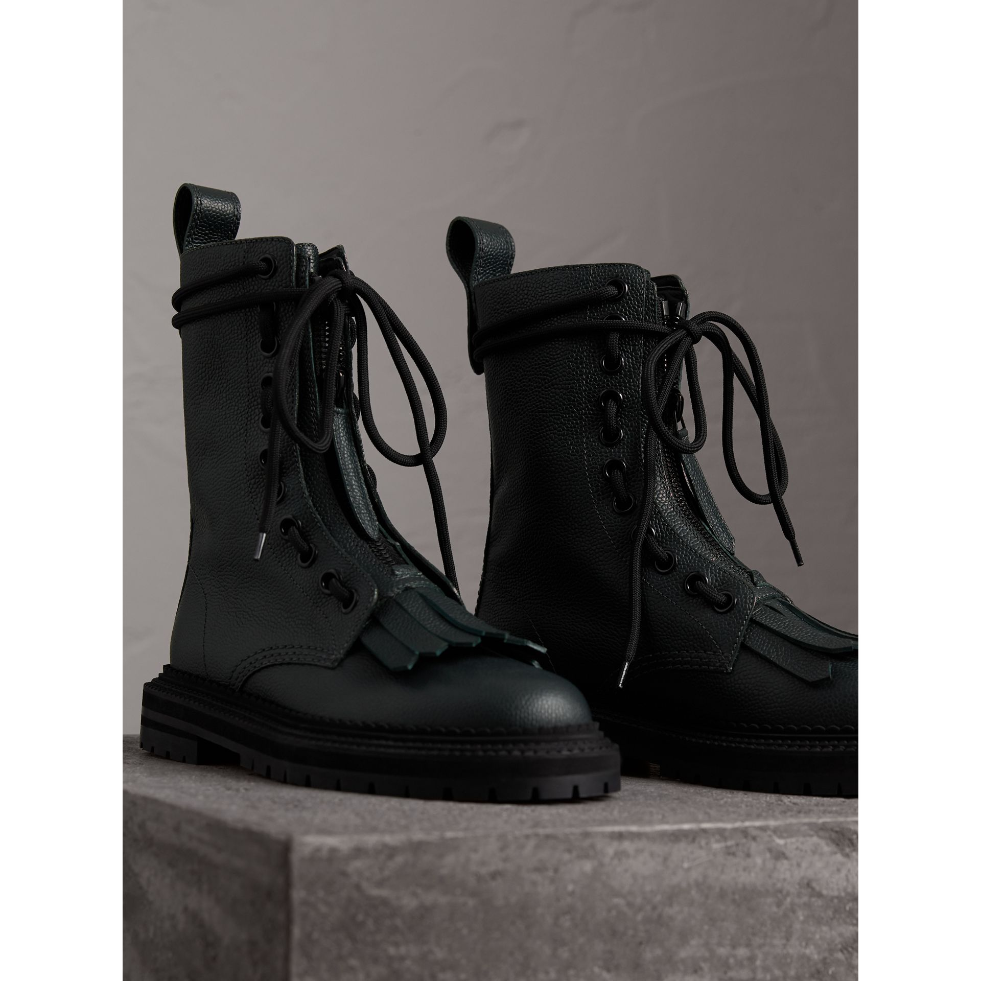 Fringe Detail Grainy Leather Military Boots in Deep Viridian Green - Women | Burberry - gallery image 5