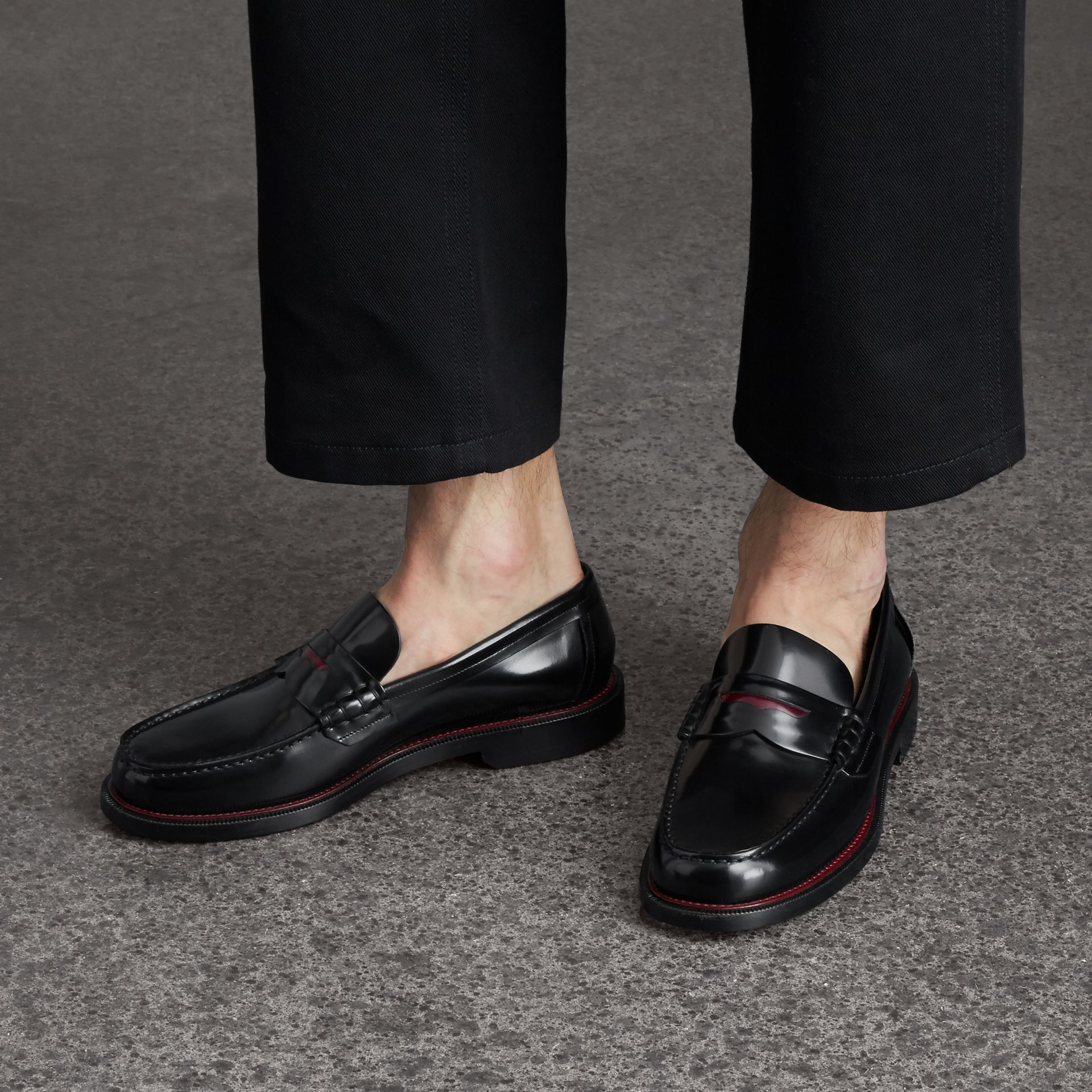 Two-tone Leather Penny Loafers in Black - Men | Burberry - gallery image 3