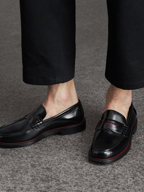 Two-tone Leather Penny Loafers in Black - Men | Burberry Hong Kong - cell image 2