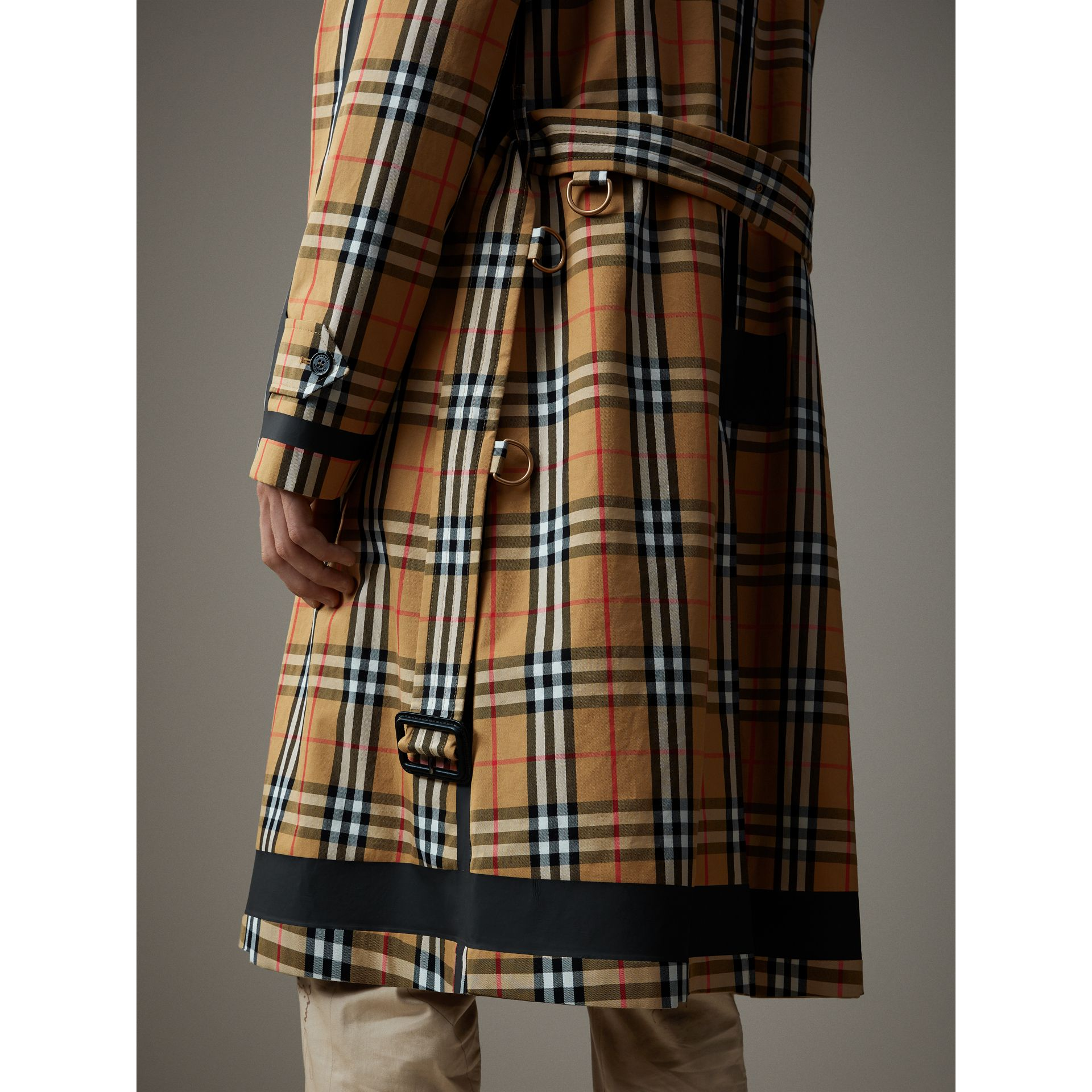 Reversible Vintage Check Gabardine Car Coat in Antique Yellow - Men | Burberry - gallery image 2