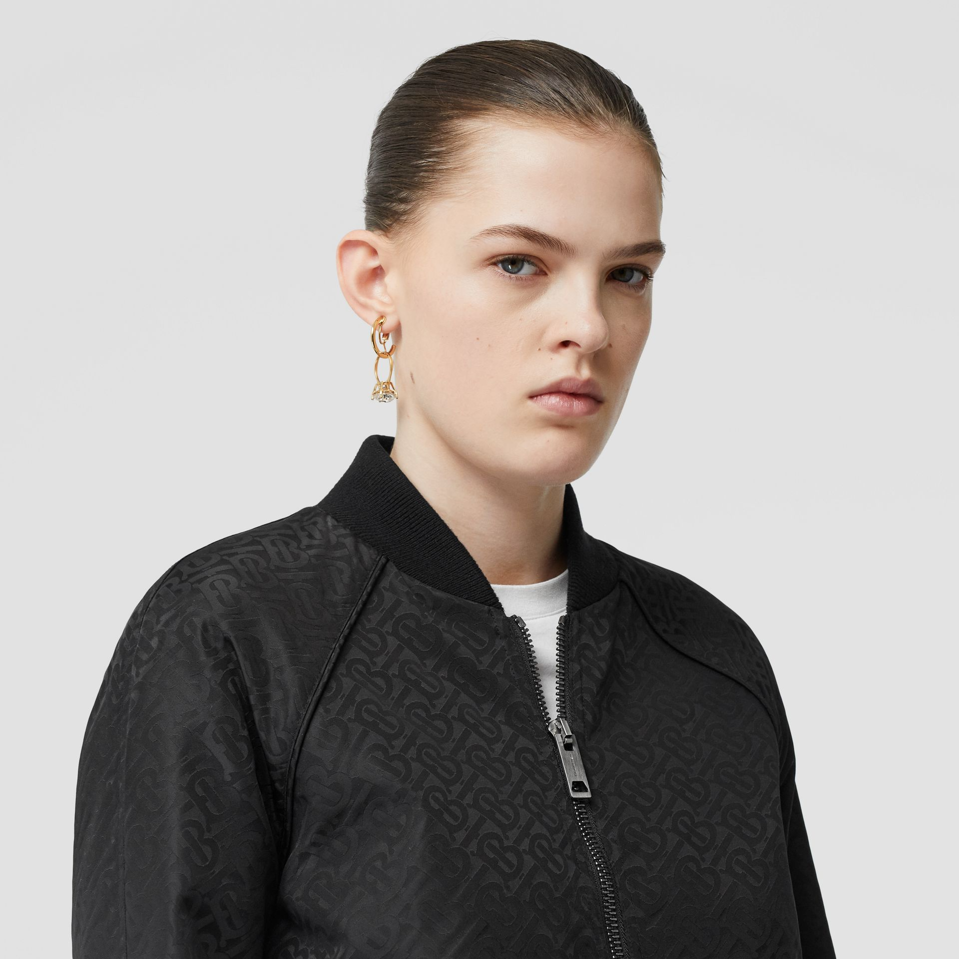 Monogram ECONYL® Jacquard Bomber Jacket in Black - Women | Burberry Hong Kong S.A.R - gallery image 1