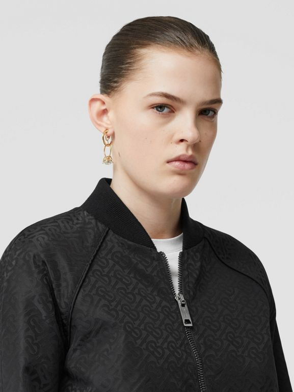 Monogram ECONYL® Jacquard Bomber Jacket in Black - Women | Burberry Hong Kong S.A.R - cell image 1