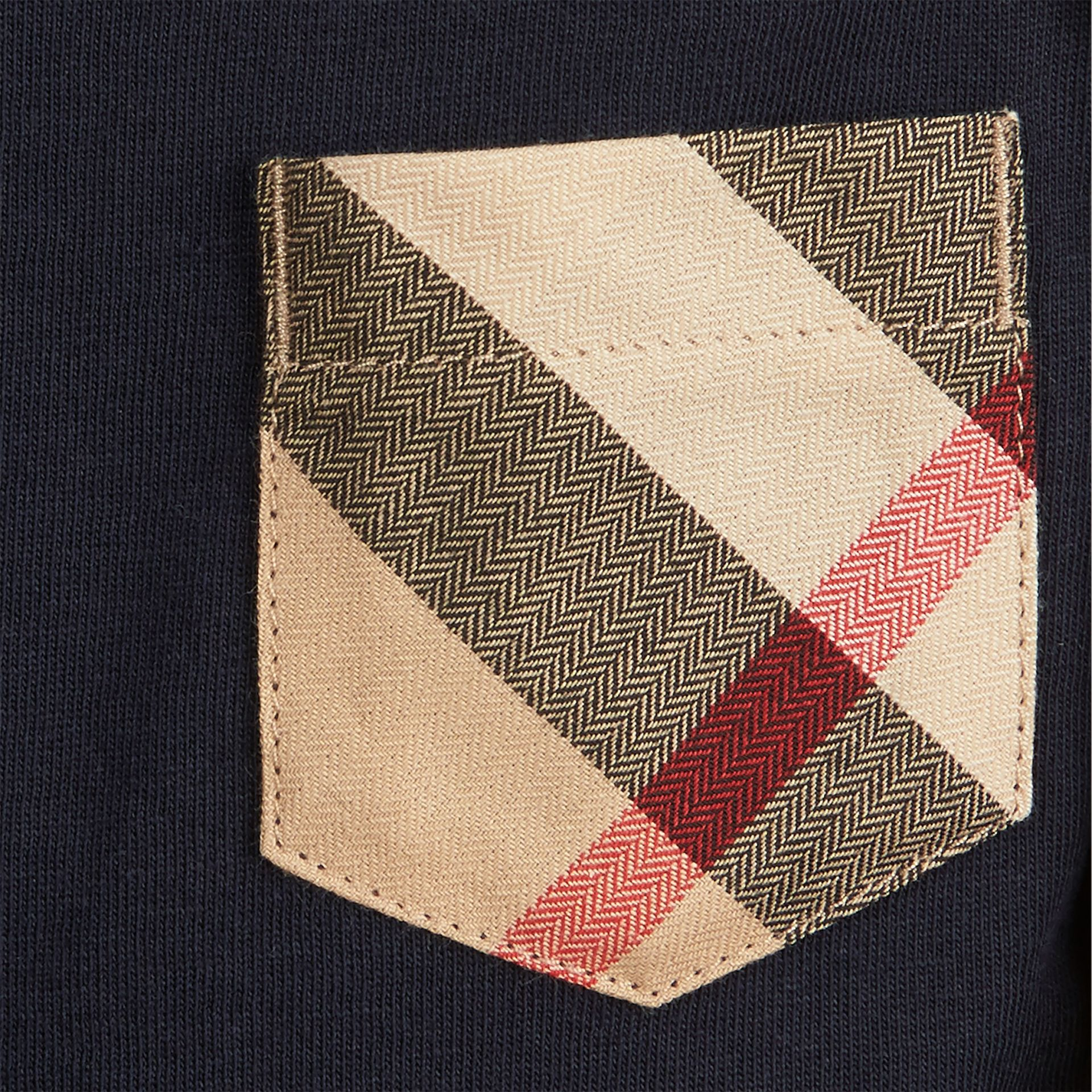 True navy Check Pocket Cotton Jersey Top - gallery image 2